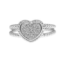 Sterling Silver Heart Cut Diamond Accent Ring