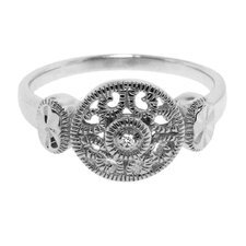 Sterling Silver Vintage Milligrain Round Cut Diamond Accent Ring