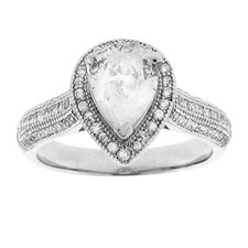 Brass Silver-tone Pear Cut Cubic Zirconia Halo Engagement Ring