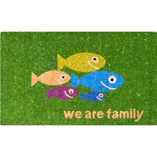 Easy Clean Green Fish-Family Doormat