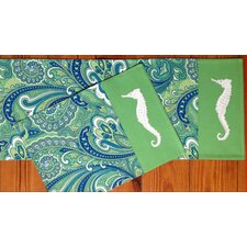 <strong>Rightside Design</strong> I Sea Life Paisley Printed and Applique Seahorse Placemats (Set of 4)