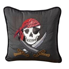 I Sea Life Embroidered Nautical Jolly Roger Pirate Pillow