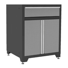 "Pro Diamond Plate 34.5"" H x 28"" W x 24"" D 1 Drawer 2 Door Base Cabinet"
