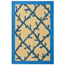 Blue Coral Lattice Rug
