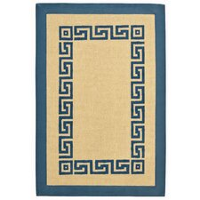 Blue Greek Key Rug
