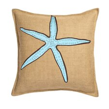 Starfish Applique on Washed Cotton Canvas and Burlap Pillow