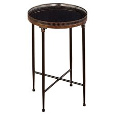 Round End Table in Bronze & Black
