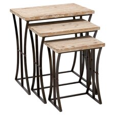 3 Piece Nesting Table Set in Beige