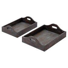 2 Piece Tray Set in Dark Brown