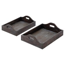 2 Piece Tray Set in Dark Brown