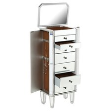 Mirrored Jewelry Armoire in Silver