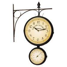 Grand Central Bracket Clock & Thermometer in Black