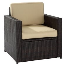 Palm Harbor Wicker Seating Chair in Brown with Khaki Cushions