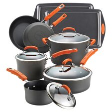 Lester 12 Piece Nonstick Cookware Set in Gray & Orange
