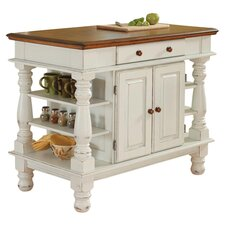 Americana Oak Top Kitchen Island in White
