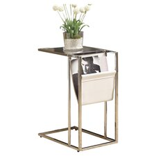 Metal End Table in White & Chrome