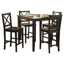 Devon 5 Piece Counter Height Dining Set in Black