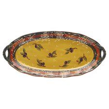 French Olives Platter in Yellow & Rust