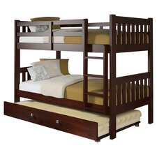 Frona Twin Over Twin Trundle Bunk Bed in Dark Cappuccino