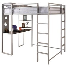 Abode Full Over Workstation Loft Bed in Silver
