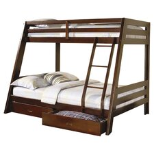 Mullin Twin Over Full Bunk Bed with Storage in Cappuccino