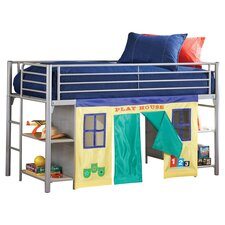 Junior Twin Low Loft Bed with Tent  in Silver
