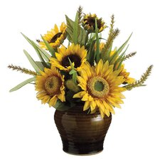Sunflower Arrangement in Yellow & Green