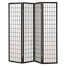 Quincy Japanese Style 4 Panel Room Divider in Black