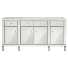 Clara Mirrored Credenza in Antiqued Silver
