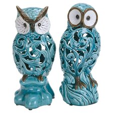 2 Piece Decorative Ceramic Owl Set in Blue