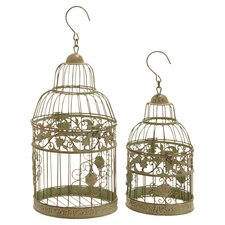 2 Piece Bird Cage Set in Gold