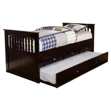 Rake Storage Trundle Twin Daybed in Rich Espresso