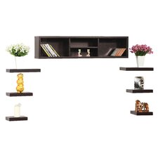 Somer 7 Piece Shelf & Cabinet Set in Red Cocoa
