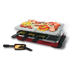 Classic Raclette Granite Stone Party Grill in Red