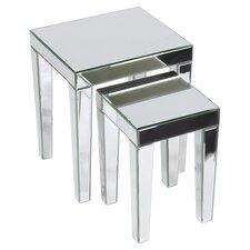 Socorro 2 Piece Mirrored Nesting Table Set