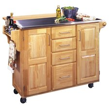 Artemis Stainless Steel Top Kitchen Cart in Natural