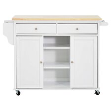 Meryland Modern Woop Top Kitchen Cart in White