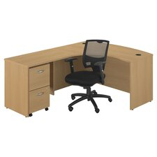 Series C Left Bow Front Desk & Chair Set in Oak