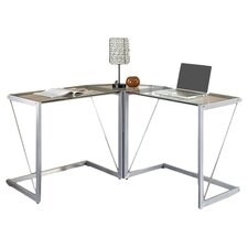 Sleek Corner Computer Desk in Silver