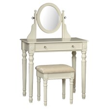 Lorraine Vanity & Stool Set in White