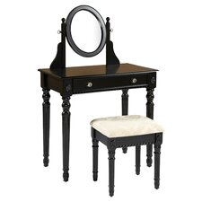 Lorraine Vanity & Stool Set in Black