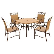 Valencia 5 Piece Dining Set in Pecan