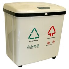Dual Recycle Touchless Trash Can in Tan