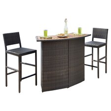 Riviera 3 Piece Dining Set in Black