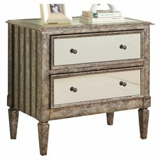 Crackle 2 Drawer Mirrored Accent Chest in Silver