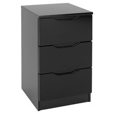 Orient 3 Drawer Bedside Table in Black