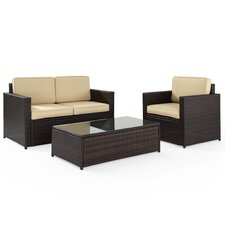 Palm Harbor 3 Piece Seating Group in Brown with Khaki Cushions