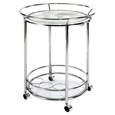 World Map Serving Cart in Chrome