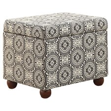 Medallion Storage Ottoman in Black & White