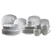 Chanson 30 Piece Dinnerware Set in Uni White